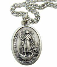 """St Raphael Patron Saint Medal 3/4"""" with Stainless Steel Chain from Italy"""