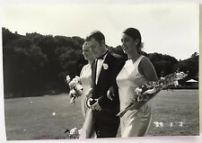 Vintage 90s PHOTO Of The Groom w/ Two Bridesmaids At Golf Course Wedding