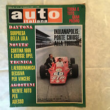 RIVISTA AUTO ITALIANA 7/1969 LOTUS 56 LOLA GROSSE OPEL AGOSTINI MIRAGE-BRM