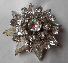 Vintage Kramer of New York Rhinestone Floral Star Pin Brooch