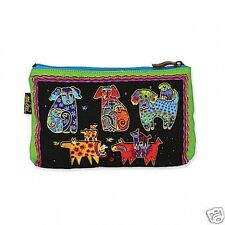 Laurel Burch Papillion Dogs and Doggies Bright Canvas Cosmetic Zipper Case New