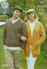 KNITTING PATTERN Mens/Ladies Cable LongJacket with Pockets &Cable Jumper DK 4372
