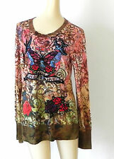 Spy Zone Exchange Top Long Sleeve Embroidery/Rhinestones Size M