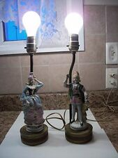 Vintage Victorian Porcelain Figurine Table Lamps Works
