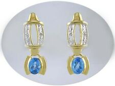 18 KT GOLD OVER STERLING SILVER BLUE TOPAZ & DIAMOND EARRINGS