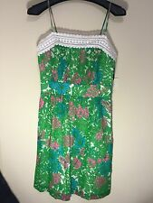 Milly of New York Dress Short 100% Cotton Crochet Lace Green Pink Blue Floral 6