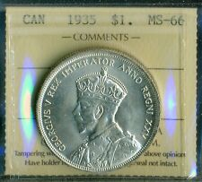 1935 Canada, King George V, Silver Dollar, ICCS MS-66