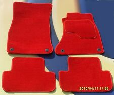 VW GOLF V5 MK4 BRIGHT RED CAR MATS 97 - 04 WITH 4 ROUND LOCATOR CLIPS. SET OF 4