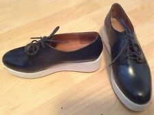 JEFFREY CAMPBELL Navy Wedege Leather Patent Platform Shoes Oxford 9