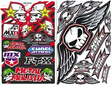 2SHEET ROCKSTAR METAL MULISHA NO FEAR SKULL WING FLY VINYL DECAL STICKER DIE-CUT