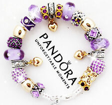 Authentic Pandora Silver Bracelet Mom Wife Purple Gold Heart European Charms New