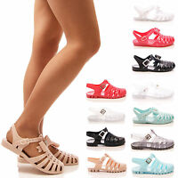 LADIES WOMENS JELLY BOW SANDALS JELLIES FLAT SUMMER BEACH CASUAL SHOES SIZE