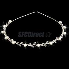 Crystal Leaves Pearl Headband Wedding Bridal Bridesmaid Prom Tiara Headpiece