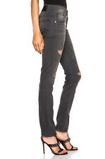 $395 NWT R13 Slouchy Skinny Destroyed Ripped Jean in Grey, Made in Italy Size 25