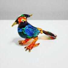 Woodpecker Figurine Animal Hand Paint Blown Glass Home Decorate Collectible Gift