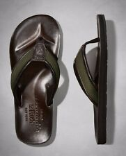 NEW Abercrombie & Fitch Leather Flip Flops GREEN 112-147-0253-043 Size Small