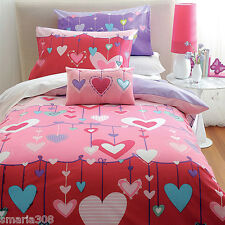 Hearts - Single Bed Quilt Cover Set - 180 Thread Count - Great Gift Idea!