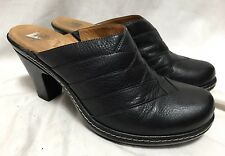 Sofft Leather Mules Heels Women's 10M Black Pleated Clogs 1039001