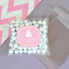24 Pink Cake Theme Personalized Clear Candy Bags Bridal Shower Wedding Favors