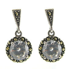 STR Silver Marcasite Round Heart Dangle Stud Earring Post Pink Clear CZ Crystal