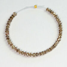 3.25CT Natural Champagne Diamond Faceted Rondelles Bead 3 inch strand!