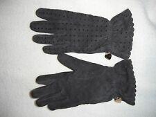 Moschino brown leather gloves angora/lambswool/nylon lining heart hang tag 6.5