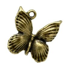 5 BUTTERFLY CHARM PENDANTS ANTIQUE BRONZE TONE