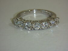 JUDITH RIPKA STERLING 1.75 CT TW DIAMONIQUE 7 STONE ROUND BAND RING NEW SIZE 7