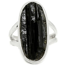 Black Tourmaline Rough 925 Sterling Silver Ring Jewelry s.6.5 BTRR101