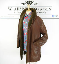 Mens VTG John Collier Brown GENUINE LEATHER Faux Shearling 40s Car Coat Jacket L
