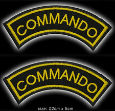 COMMANDO Elite Special Forces Pair of Embroidered Iron-On / Sew-On Patches #6M11