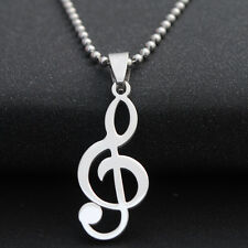 Titanium Steel Musical Note Pendant Necklace Silver Plated Chain Gifts