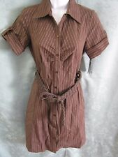BCX Macy's Shirt Dress Size Small Pinstriped Belted Button Front NWT NEW