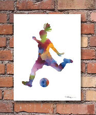 """Girl Soccer Player Abstract Watercolor 11"""" x 14"""" Art Print by Artist DJ Rogers"""