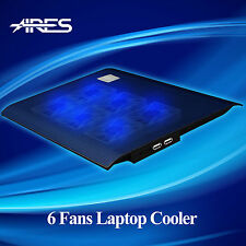 "Ares Ultra-Slim Portable 6 Fans Notebook Cooling Pads Cooler Mat F 15.4"" Laptop"