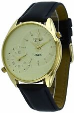 Omax S002G121 Men's Gold Tone Black Leather Band Gold Dial Dual Time Zone Watch