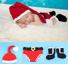 Newborn Baby Santa Crochet Costume Photo Photography Prop Hat Short Boots Outfit