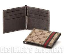 GUCCI Mens Original GG canvas Elastic WEB Band MONEY CLIP bifold wallet NIB Auth