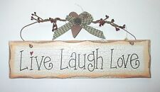 "Country Primitive Wood Sign ""Live Laugh Love "" 11 x 3 Inches"