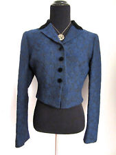 Moschino Cheap and Chic Bolero Jacket Blue/Black Floral Textured w/Velvet Sz 2