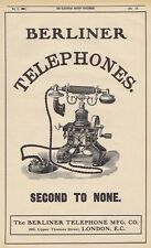 BERLINER TELEPHONE CO Second to None Phones - Antique Engineering Advert 1905