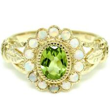 Peridot 14 Opal 9ct Solid Gold Antique Style Ring, Free Shipment  30 Day Returns