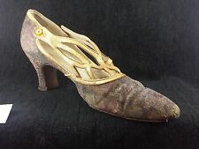 Vintage 1920s Flapper Wedding Shoes Floral  DECO Shoes!  Museum Quality!