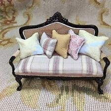 Pat Tyler Dollhouse Miniature Sofa Seat Couch Settee With Pillows 1:12