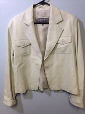 Monroe & Main Size Xl Leather Coat Off White