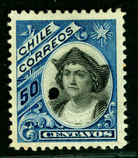 CHILE 1904  COLUMBUS 50c blue - early A.B.N.Co. print  SPECIMEN w/  PUNCHED HOLE