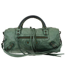 Auth BALENCIAGA The Twiggy 2Way Shoulder Hand Bag Leather Green Italy 61A919