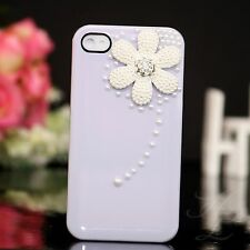 Apple iPhone 4 4S Hard Handy Case Cover Schutz Hülle Etui Perlen Steine Lila 3D