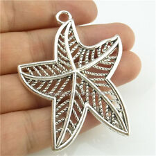 14805*5x Silver Large Hollow Five Star Maple Leaf Starfish Pendant Alloy Antique
