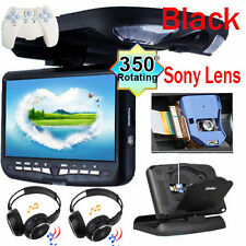 "Black 9"" Flip Down Overhead Roof Mount Car DVD Player Monitor Games+headsets"